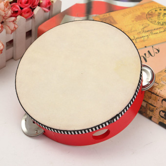 children's percussion dance props sheepskin tambourine parent-child communication hearing grasping for 3-6 years old 6 inch (red sheepskin) - intl