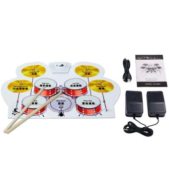 Silicone Electronic USB Roll Up Drum Kit with Drumsticks + Foot Pedal - intl(...) 498.000, Update. Instrumen Musik Anak Mainan Drum ...