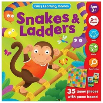 Harga Hellopandabooks - Snakes & Ladders Early Learning Games with 35 game pieces and game board