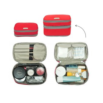 Harga D'renbellony Expandable Cosmetic Pouch (Red) / Dompet Kosmetik / Tempat kosmetik / Tas Kosmetik / Cosmetic Organizer Drenbellony