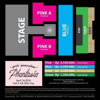 4TH GENERATION GIRLS' GENERATION 4th TOUR - Phantasia - In JakartaStage Layout & Ticket Price - Blue