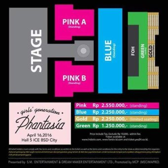 4TH Girl's Generation 4th Tour- Phantasia - In Jakarta Stage Layout& Ticket Price - Gold