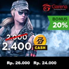 Garena PB Cash 20000 (2400 cash) - Top Up