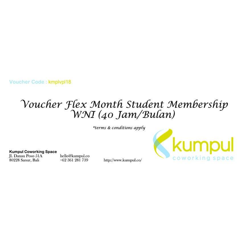 Kumpul Voucher Flex Month Student Membership WNI - 40 Jam/Bulan - Kumpul Coworking Space - Bali