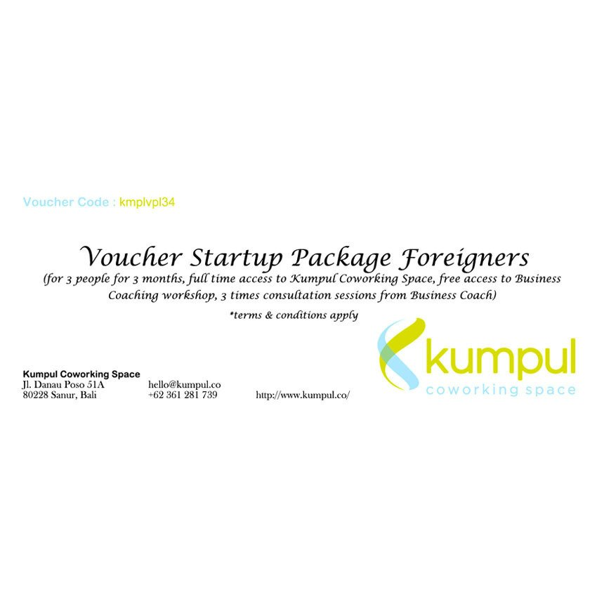 Kumpul Voucher Startup Package Foreigners – 3 Orang/3 Bulan - Full Time Access to Kumpul Coworking Space