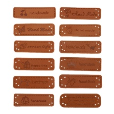 12pcs PU Leather Tags On Clothes Garment Labels For Jeans BagsShoes Sewing - intl