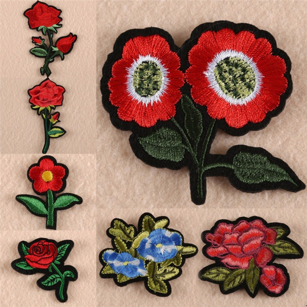 ... 8pcs Red Rose Flower Embroidery Applique Cloth DIY Sewing &Iron on Patch Badge Multicolor 5cm- ...