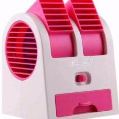 Ac Duduk Double Mini Fan Portable Blower Kipas Usb - Pink