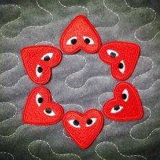 Elife 5 Pcs Red Heart Eyes Embroidered Iron-On Patch AppliqueClothing Garment DIY Accessory -