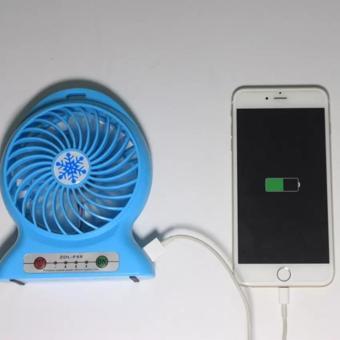 ... Portable Mini Fan Rechargeable Kipas Angin Pendingin Recharge Cas Kecil Biru