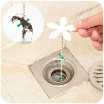 HARGA nonvoful Shower Drain Hair Catcher Drain Hair RemoverChain,44cm17inch,White – intl TERBAIK