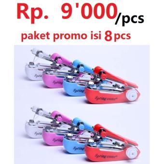 paket promo Mesin Jahit Tangan Spring com isi 8 pcs-4warna/mawar88shop
