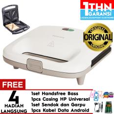 Philips Sandwich Maker HD2393 - Pemanggang Roti(White) Free Handsfree Headset Mega Bass + Garpu dan Sendok + Case Universal + Kabel data android