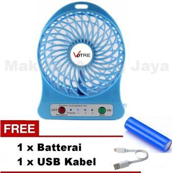Termurah VOTRE Kipas Angin Portable Mini Fan Blue Biru - YFS 01 + Free Batterai + Free USB Kabel Harga Diskon RP 44.000 Beli Sekarang !!!
