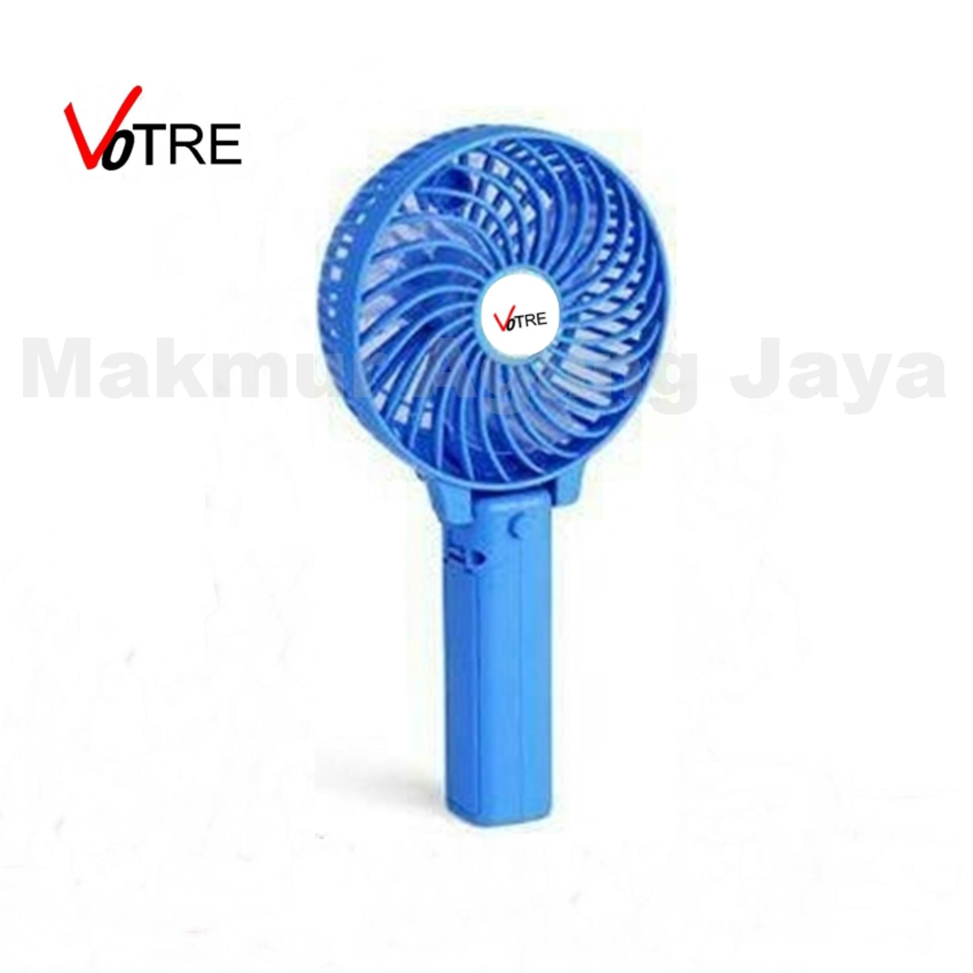 VOTRE Kipas Mini Lipat Portable Small Fan Rechargeable - BLUE / Biru + .