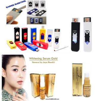 Korek Elektrik - Korek Api Lighter USB Anti Angin - Random Color + whitening Serum Gold