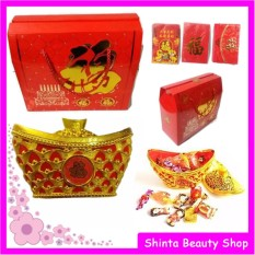 Permen Coklat Imlek Toples Gold + Paperbag Box & Angpao Xinjia