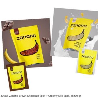Snack Zanana Chips - Banana Brown Chocolate 2pak + Creamy Milk 2pak- Rasa Chocolate + Creamy milk