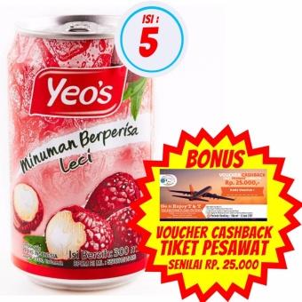 harga Yeo's - Minuman Rasa Leci 300ml | Isi 5 + Bonus Voucher Cashback Tiket Pesawat Senilai Rp. 25.000,- Lazada.co.id