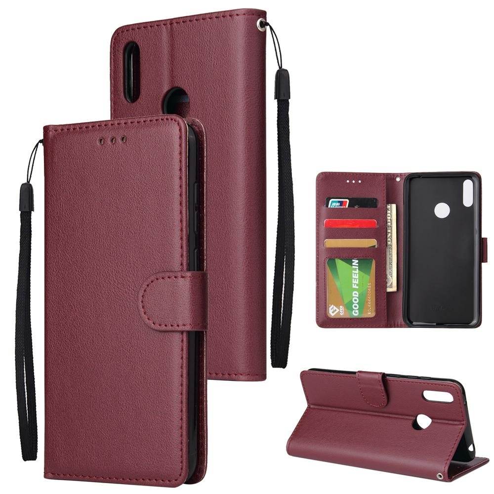 For HUAWEI Enjoy 9/ Y7 2019 /Y7 PRO 2019/Y7 PRIME 2019 Flip-type Leather  Protective Phone Case with 3 Card Position Buckle Design Phone Cover
