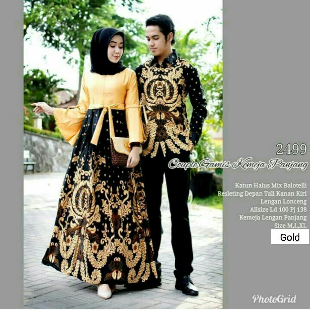 Nisa Collection Batik Couple Sarimbit Batik Muslim 2019 Gamis