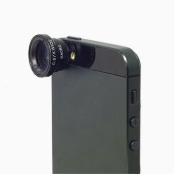 Harga 0.67X Wide Angle + Macro Lens Black for iPhone 5 4G 4S 4 i9300Mobile Phone - intl