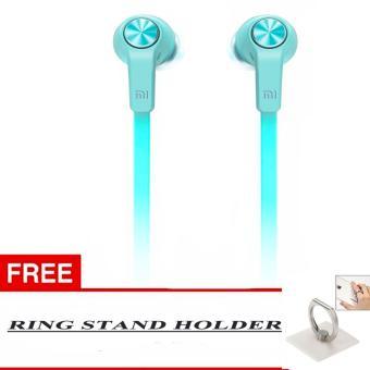 100% Xiaomi Stereo In Ear Piston Mi Original 3rd Gen YouthHandsfree/Headset + Free Ring Stand Colour Random - Biru