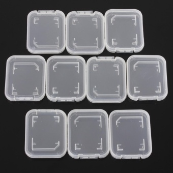 Harga 10PCS Transparent Standard SD SDHC Memory Card Case Holder Box Storage Set - intl