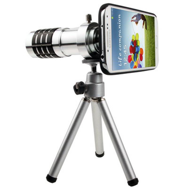 12 x Zoom Optik Lensa Kamera Teleskop Ponsel Logam Aluminium MiniTumpuan Kaki Tiga Dan Kasus Untuk Samsung S5