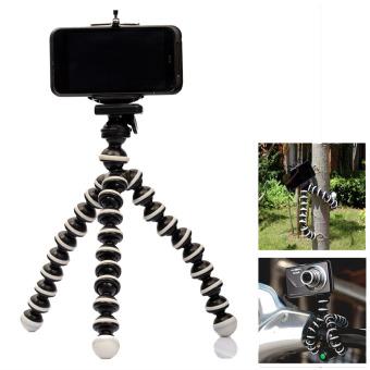 Gambar 2 in 1 multi fungsi gurita gaya tumpuan kaki tiga untukponsel kamera Hitam + putih