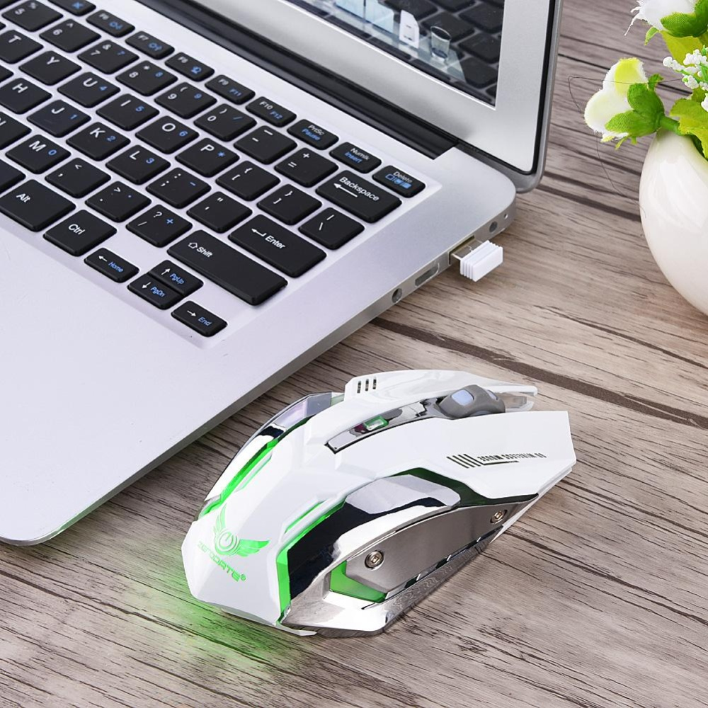 ... 2.4G Wireless Rechargeable Gaming Ergonomics Optical Mouse Mice For PC Laptop Computer (White) ...