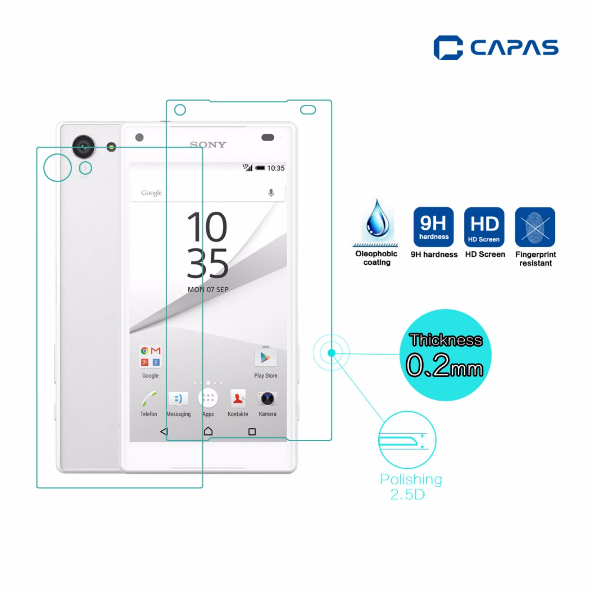 2pcs Front Back Tempered Glass for Sony Xperia Z5 Compact MiniScreen Protector Full .