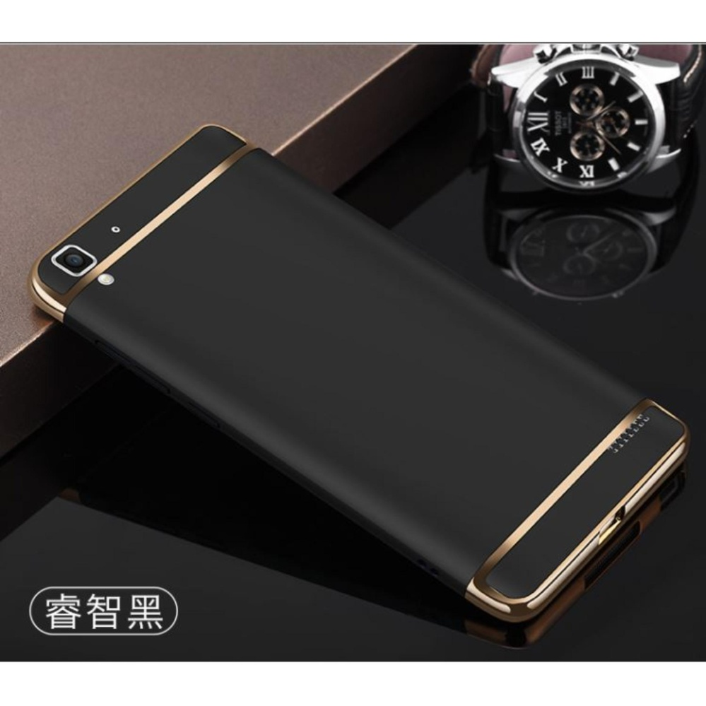 Longteng 3 In 1 Pc Protective Back Cover Case With Metal Ring For Hard Oppo F1s A59 Plated Rubber Coating Gold R7s Black