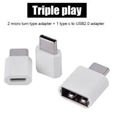 3 PCS Micro USB Female ke Tipe C USB 3.1 Male OTG Adaptor Converter   Set Suit Putih