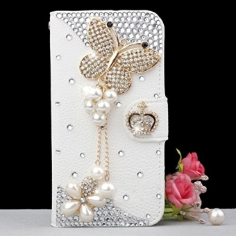 3D Bling Crystal Rhinestone PU Leather Flip Folio Case Cover Skin Protector with Magnetic Closure for Samsung Galaxy J1 - Butterfly Design
