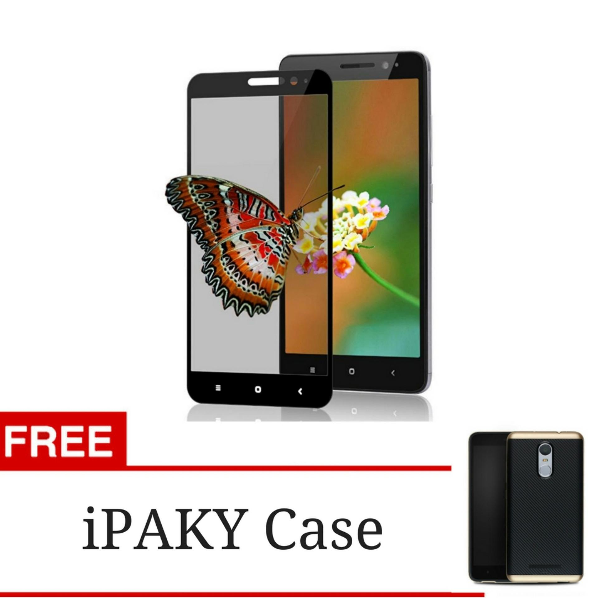 Flash Sale 3D Full Cover Tempered Glass Warna Screen Protector for Xiaomi Redmi Note 3 / Note 3 Pro - Black + Gratis iPaky