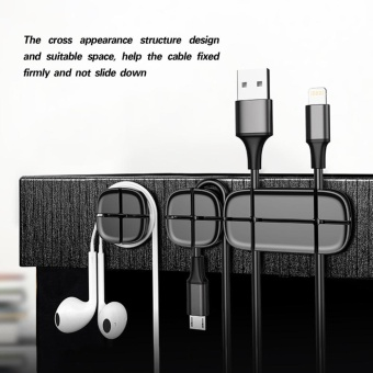 3Pcs/Set Magnetic Cable Holder Organizer Winder Desktop Wire CordManagement System Black - intl