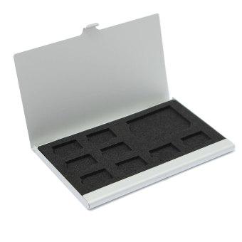 9 kotak penyimpanan mikro SD/SD kartu memori case pelindung logam 8TF dan 1 SD Perak - 3