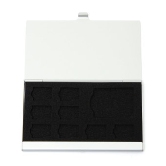 9 kotak penyimpanan mikro SD/SD kartu memori case pelindung logam 8TF dan 1 SD Perak - 4