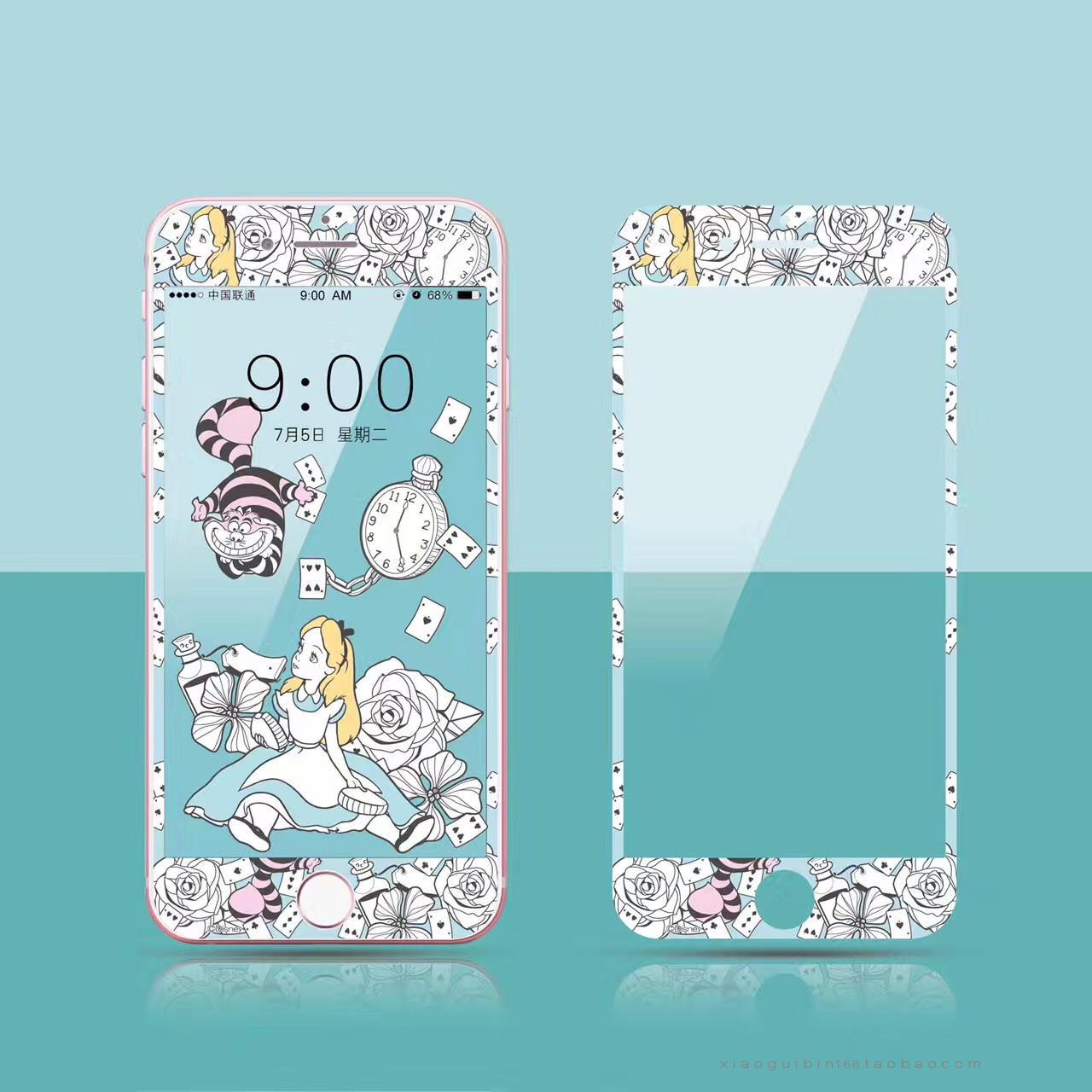 Alice IPhone7plus/6plus Hitam Dan Putih Baja Gelas Garis