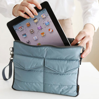 Amart Organizer Sleeve Pouch Storage iPad Bag Travel Ipad Mini Soft With Handles(Blue) - intl