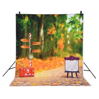 Andoer 1.5 * 2m Photography Background Backdrop Autumn Fallen Leaves Road Sign Pattern for Children Kids Baby Photo Studio Portrait Shooting Outdoorfree - intl - 3