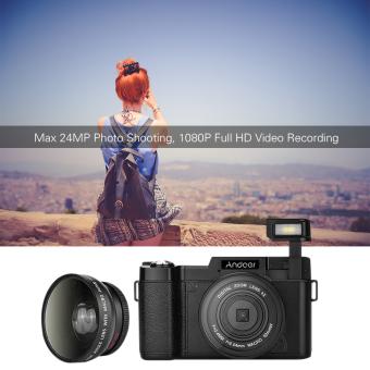 Andoer CDR2 1080P 15fps HD penuh 24 megapiksel kamera digital 3.0inci layar LCD diputar anti goyang 4 x Digital meningkat Imboditarik DV Camcorder perekam video cam senter dengan sudut lebarLensa dan UV filter Outdoorfree