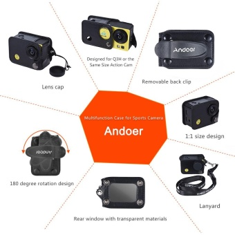 Andoer Clip-on Black Sports Camera Protecive Carrying Hanging CaseBag with Neck Lanyard & Lens Cap for Andoer Q3H / Q3 or theSame Size Action Cam - intl - 5