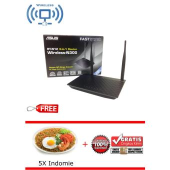 Asus Wireless RT-N12+ N300 3-in-1 Router Free 5x Indomie