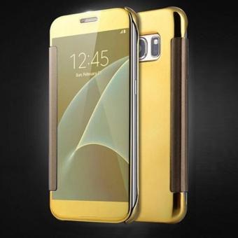 Asuwish Plating Flip Case Transparan Clear View Hard Cover Cover Telepon Kasus untuk Samsung Galaxy S6