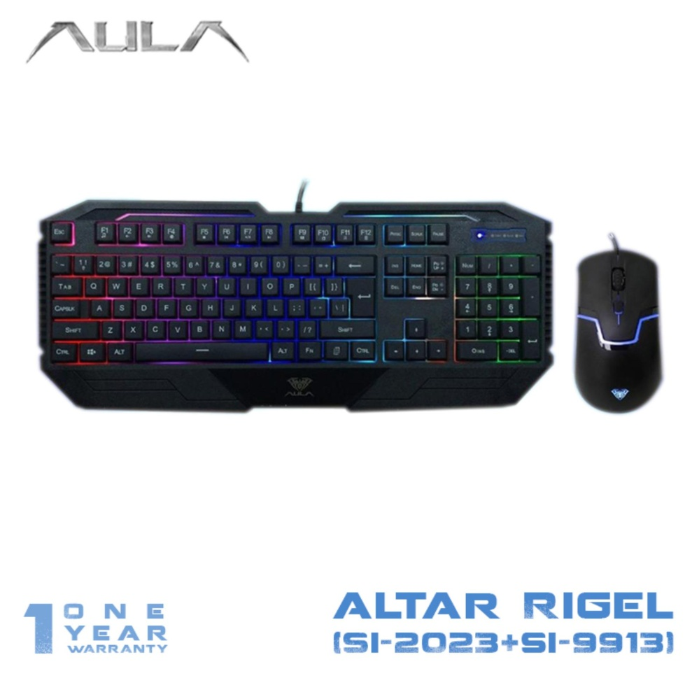 Drainage holes design water resistance AULA Keyboard Mouse bo Gaming Altar Rigel Backlight Hitam
