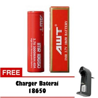 AWT Battery 3000 MAh Tipe 18650 Rechargeable Li-ion 1 Pc + Charger(Red)