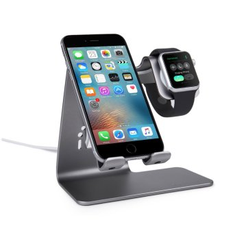 Harga Bestand 2 in 1 Phone Desktop Tablet Stand & Apple WatchCharging Stand Holder for Apple iWatch/ iPhone/ ipad (Space Grey) -Intl