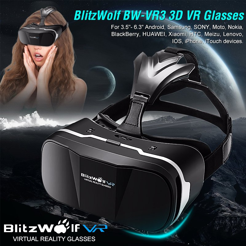 BW-VR3 3D VR Glasses Virtual Reality Headset For 3.5-6.3 inch .